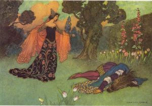 An illustrátion by Warwick Goble for Beauty and the Beast, 1913.