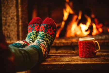 winter socks fireplace